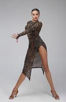 Wholesale Leopard Latin Dance Dress Women Tango Splicing Salsa Rumba Costumes Leopard Latin Dress Sexy Samba Dance Dress Fringe