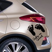 baby footprint sticker - 1pcs The Car Rear Window Waring Decals cm cm Baby on board Car Stickers Baby Footprints Covered Scratches Car Decals