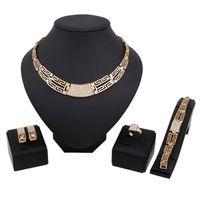 Haut de gamme bijoux de mariage ensembles Hot Sale argent Boucles d'oreilles Chocker Colliers anneau Bracele Set pour les femmes Girl Livraison gratuite 0492WH