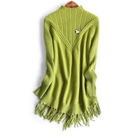Wholesale Europe and the United States women s new winter Turtle neck long sleeve V tassel knit sweater