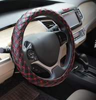 Wholesale Red wine car steering wheel cover super fine rubber inner ring red and white colors good permeability