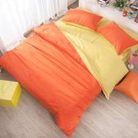 Wholesale fever pure cotton bedding color peached cotton four piece simple solid cotton sheet quilt Chinese textile