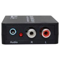 analog decoder - Digital Optical Fiber To Analog Audio Decoder RCA Video Converter Adapter Black