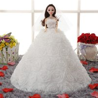 big beautiful dolls - 2016 New Dreamlike Doll White Red Beautiful Ball Gown Wedding Dress Barbie For Girls s Gift