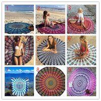 beach cartoons - 11 Types CM Round Beach Towel Bohemian Style Chiffon Fabric cm Beach Towels Round Printed Serviette Covers for Summer