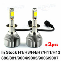 Wholesale Car Headlights LED Bulb Auto Front Bulb W lm H1 H3 H4 H7 H11 H13 Automobiles Headlamp K K C6