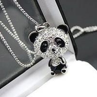 Pendant Necklaces South American Unisex Really nice!Shiny PANDA necklace!!shiny rhinestone super charm panda necklace jewelry Cute awesome panda pendant necklaces wholesale