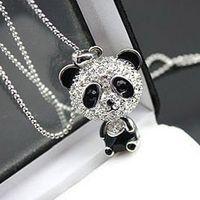 Bijoux de panda Prix-Vraiment sympa! Collier PANDA brillant! Brillant rhinestone super charme collier panda bijoux Joli collier pendentif panda impressionnant en gros