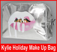 Wholesale New arrival Kylie Jenner Silver Make Up Bags Holiday Edition Makeup Bag Kylie Lip Kit Christmas Bag