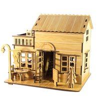 bamboo house building - high quality Assembled D Building House Puzzle DIY Bamboo Model Home Decor