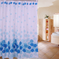 Wholesale Hot Sale Polyester Fabric Shower Curtains Liner Waterproof Printed Pattern Washable Waterproof with Plastic Hooks x71 Four Color