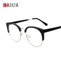 Revisiones Men s round eyeglass frames-El marco de los vidrios del ojo de las mujeres al por mayor para los hombres Enmarcado redondo del metal de la vendimia los ojos de gato enmarcados de las lentes de la alta calidad del diseño de la marca de fábrica nuevos