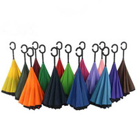 Wholesale Windproof Reverse Folding Double Layer Inverted Umbrella Self Stand umbrella rain sun women men high quality