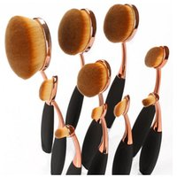 Wholesale 5 Oval Makeup Brush Set Cosmetic Supplies Tools Two Styles Rose Gold and Black High Quality Nylon DHL