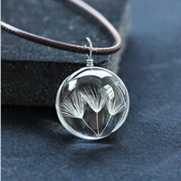 Wholesale Hot Sale Dandelion Jewelry Crystal Glass Ball Dandelion Necklace Leather Chain Handmade Dried Flowers Pendant Long Necklace Gift