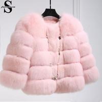 Wholesale 2016 Winter Fox Fur Coat Jacket Petite Ladies Fur Peacoat Outwear Round Neck Long Sleeve Parka Coats Short Trench Coats