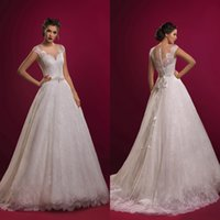 Wholesale 2017 Lace Wedding Dresses with Cap Sleeves Bridal Illusion Neckline Beaded Waist Princess Ball Gown Wedding Dresses with Sash