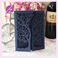 Wholesale wedding party decoration paper craft laser cut tree wedding invitation card greeting card QJ