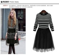 animal print tunic - Patchwork Color Dress for Women Retro A Line Girl Casual Robe Femme Tunic Full Sleeve Slash Neck Dressses