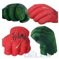 Grossiste - 1pcs 28cm de hauteur Hulk Spiderman gants de boxe en peluche poignardée poing poignets quatre choix main gauche à droite Random Shipping