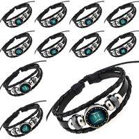 Charm Bracelets aries zodiac sign - Glass Cabochon Constellation Bracelets Aries Taurus Gemini Cancer Virgo Scorpio Pisces Zodiac Sign Leather Bracelets