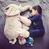 Venta al por mayor-Bebé juguetes lindo nariz Elefante muñeca almohada suave bebé dormir peluche cosas juguetes almohada Dormitorio ropa de cama