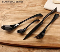 Wholesale western kitchen cutlery black gold stainless steel knife fork spoon set