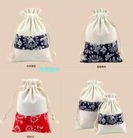Wholesale Blue and white beam drawstring handmade blue and white small bag gift bag