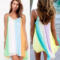 Casual Dresses Mini Dresses Summer New Fashion Sexy Casual Dresses Women Strap Summer Sleeveless Evening Party Beach Dress Short Chiffon Mini Dress Womens Clothing Plus Size