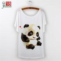 Wholesale-Totoro tshirt 2016 Casual T-shirt Femmes Tops Graphic Tee Shirt Femmes Animal Panda Impression Manches Courtes O-neck Tee-shirts