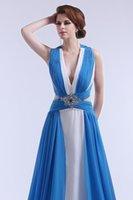 Grace Karin Deep V-cuello blanco y azul largo beige vestidos de noche 2016 gasa abierta back vestidos de fiesta formal vestidos robe de soiree