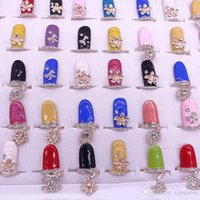 Wholesale Cute Crystal Finger Rings CZ Diamond Bowknot Nail Art Finger Ring Fashion Rhinestone Flower Crown Fingernail Rings Jewelry for Women