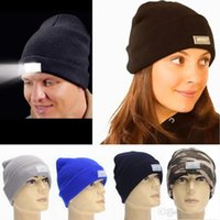 Wholesale 12 Colors LED light Beanies Hat Winter Hands Free Warm Beanie Angling Hunting Camping Running Caps