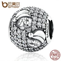 Wholesale BAMOER New Design Sterling Silver Santa Claus Charm Charms fit Women Bracelets Bead Jewelry Makings Christmas Gift SCC066