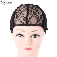Wholesale 1 Black Color Stretchable Lace Wig Cap Elastic Hairnet Cap Adjustable Strap Wig Cap For Making Wig
