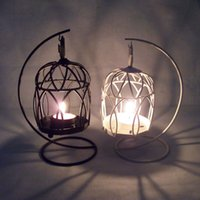 Wholesale Wedding Festival Cage wrought iron candlestick Creative romantic storm lantern candle holders Bars arts and collectible