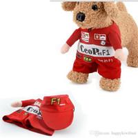 al por mayor conductor del gato-Gatos cosplay F1 Racing Driver Traje con Cap Perros Cat permanente rojo Ropa Pet en F1