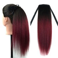 Wholesale 16 inch T1b j Yaki Two Tone Ombre Ponytail Human Hair Extensions For Black Women