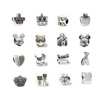 best prams - Best Seller Mix Kinds Alloy Charm Bead Mickey Minnie Castle Owl Heart Apple Bone Pram Locomotive Silver Plated For Pandora Bracelet