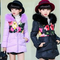 Wholesale Fur Hooded Winter Jackets For Girls Children Clothing Floral Print Kids Parkas Thicken Warm Coats Girls Outerwear Y