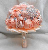 Wholesale Pearls Glass Crystal Coral Rose Women Wedding Holding Flowers Beads Lady Big Girls Bridal Rhinestones Bridal Bridesmaid Bouquets