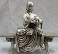 antique carved chairs - Modern Art Sculpture Figurine quot Chinese Buddhism Silver Seat Chair Ksitigarbha Boddhisattva Tangseng Statue