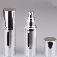 Plastic   15ml 30ml gold silver Refinement airless vacuum pump lotion bottles used for Cosmetic packing fast shipping F2017818