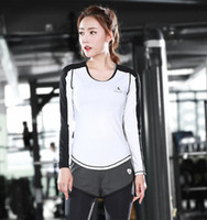 Wholesale Cute Women s O Neck Tee Shirt for girl New Sports T shirt Quick drying Fitness Wear Outdoor sweat Running Yoga Long sleeve