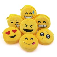 Wholesale 100pcs cm QQ Expression shoulder bag Cute Emoji Coin Bags Plush Pendant Womens Girls Creative Chirstmas Gifts