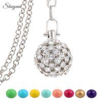 Collar cristalino del Locket de la bola del Bola del carillón de la madre para las mujeres embarazadas Cage hueco y el oro de la plata del bebé 5pcs plateado