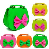 Wholesale New cute candy color kids bowknot design mini bag Children s gifts kindergarten student bags lovely bag