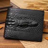 Compra Para hombre cartera de piel de cocodrilo-Hombre monedero cuero genuino mens cocodrilo famoso diseñador marca cartera dragón de lujo de la vendimia tarjeta de crédito cartera de la caja Alligator moneda bolsa