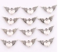 angels handmade - Antique Silver Angel Heart Wings Spacer Charm Beads Pendants Alloy Handmade Jewelry Findings Components DIY L189