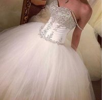 Wholesale 2017 Ball Gown Tulle Wedding Dress Off the Shoulder Beading Crystals Puffy Bridal Gown Cheap New Arrival Wedding Gown